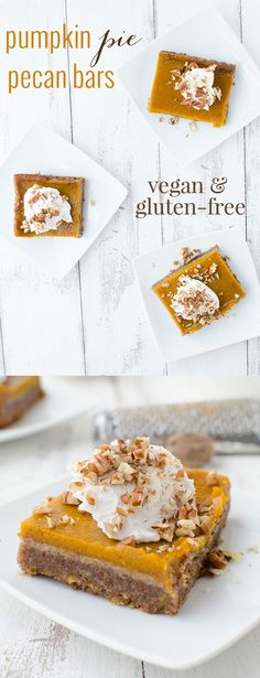 Healthy Vegan and Gluten-Free Pumpkin Pie Pecan Bars! Now you don't have to choose between pies! This dessert is the BEST- a must for Thanksgiving. Topped with Cinnamon-Vanilla Coconut Cream. | www.delishknowledge.com