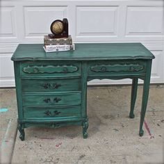 Teal Green French Provincial  Desk/ Turquoise/ by AquaXpressions, $299.00