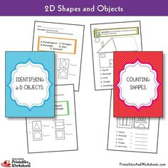 2D Shapes Worksheets - Printables & Worksheets 1st Grade Math Worksheets, Shapes Worksheets, Printable Worksheets, Printables, Geometric Shapes Drawing, 2d And 3d Shapes, Objects, Teaching, Lettering