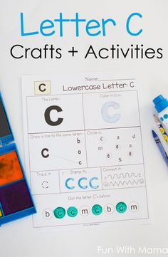 This letter c worksheet is perfect to add to your letter of the week curriculum and alphabet letter crafts and activities. These hands on learning activities help toddlers, preschool prek, and kindergarten kids learn letter recognition and letter sounds. Letter C Activities, Educational Activities For Toddlers, Printable Activities For Kids, Free Printables, Alphabet Letter Crafts, Printable Alphabet Letters, Preschool Alphabet, Alphabet Worksheets, Literacy Activities