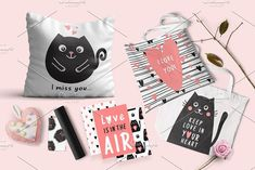 Kitty Font + Graphics by Nadezda Gudeleva on @creativemarket
