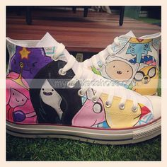 #Adventure Time Custom High-top Painted Canvas Shoes