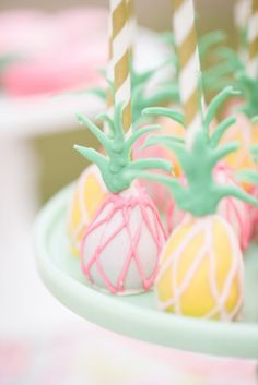 Pineapple cake balls-Style Me Pretty | Flamingo Party
