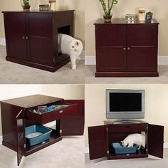 Hidden Indoor Dog House/Crate - Same idea except applied to a dog. Holy cats and dogs, my mom needs this bad!!!!!
