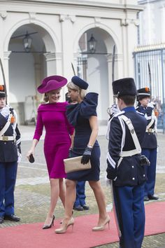 (L-R) Queen Mathilde of Belgium and Queen Maxima of The Netherlands arrive at the Noordeinde Palace during an official visit to The Netherlands on 08.11.13 in The Hague, Netherlands.