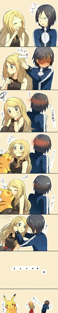 Pokémon Trainers, couple, pocky, game, funny, text, comic, Pikachu, kiss; Pokémon