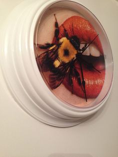 New White Wall Clock Reworked with Funky Bee and Lip Photo Print