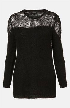 Topshop Sheer Yoke Sweater | Nordstrom