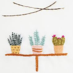 Celebrate your greenthumb (or want of a greenthumb!), with the Inside the Greenhouse embroidery pattern. With its tidy row of potted plants and strings of colorful lights, this earthy-hued illustration-style design will delight any intermediate-level embroiderer. <p><p>Skill level: intermediate