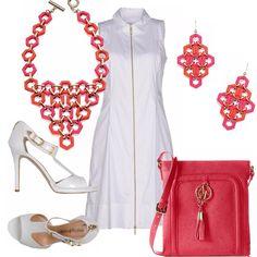 ...quando gli accessori colorano il bianco! Abito bianco di linea semplice, con apertura a zip sul davanti. Sandalo bianco, tacco a stiletto con cerniera dietro. Piccola tracolla in pelle corallo. Collana ed orecchini in rosa ed arancio per un tocco di colore!