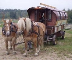 Check out the wagon. (via Horses Wallpaper) Gypsy Caravan, Gypsy Wagon, Big Horses, Horse Love, Horse Drawn Wagon, Horse Wallpaper, Old Wagons, Gypsy Living, Utility Trailer