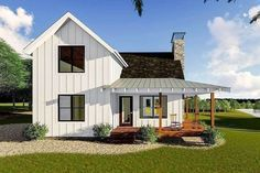 Plan Modern Farmhouse Cabin with Upstairs Loft This is a modern farmhouse style cabin plan that sleeps a couple on the main floor and friends upstairs in the loft.A wrap-around covered porch gives views on three sides of your property. Small Farmhouse Plans, Modern Farmhouse Exterior, Modern Farmhouse Style, Farmhouse Contemporary, Farmhouse Bedrooms, Farmhouse Design, Small Cottage Plans, Small Cabin Plans, Small Country Homes