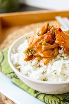 The chicken was tender and the sauce was sweet and aromatic in these slow cooker teriyaki chicken rice bowls. I added Sriracha to cut the sweetness.