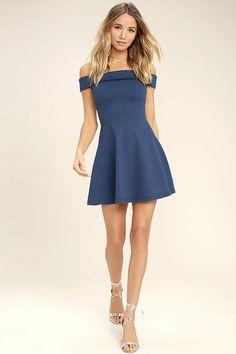 916204aaf5c Season of Fun Denim Blue Off-the-Shoulder Skater Dress
