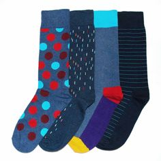 Mens Dress Socks - Happy Socks - Polka Dot, Solid & Stripe Dress Socks Gift Box 4 Pack