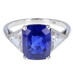 Top Quality Ceylon Sapphire Diamond Three Stone Platinum Ring