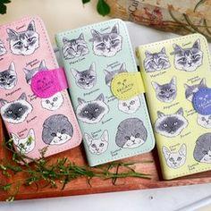 手帳型iPhoneケース/16匹の猫