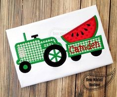 Watermelon Tractor Applique - 4 Sizes! | What's New | Machine Embroidery Designs | SWAKembroidery.com Beau Mitchell Boutique