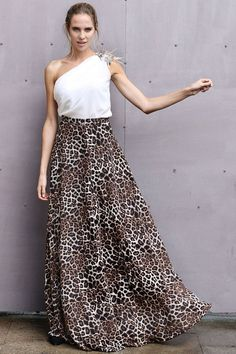 falda de vuelo larga con estampado animal print de leopardo para bodas  fiestas eventos coctel nochevieja f81729bc9cf0