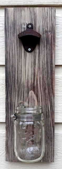Rustic Pallet & Mason jar Bottle Opener - 300+ Pallet Ideas and Easy Pallet Projects You Can Try - Page 7 of 29 - Pallets Pro