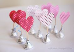 How about these yummy  Chocolate Kisses with #DIY hearts..