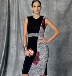 Sheath dress sewing pattern with interesting seaming details from Nicola Fenetti for Vogue Patterns. V1468, Misses' Dress
