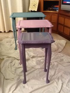 Reloved tables, upcycle, vintage, oak table trio, nest of tables, paint, painted, purple, pink, turquoise