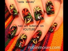 WEED DESIGN in rasta colors: robin moses hemp fest nail art tutorial Robin Moses, Do It Yourself Nails, How To Do Nails, Cannabis, Weed Nails, Rasta Nails, Hippie Nails, Nail Art 2014, Funky Fingers