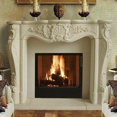 French Country Fireplace, Farmhouse Fireplace, Faux Fireplace, Fireplace Remodel, Fireplace Mantle, Fireplace Design, Fireplace Decorations, Cast Stone Fireplace, Antique Fireplace Mantels