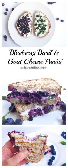 Creamy goat cheese, wild blueberries, and fresh basil combine into this irresistible Blueberry Basil & Goat Cheese Panini Sandwich. #recipe