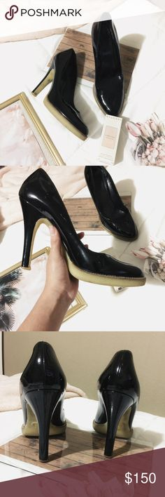 """[GUCCI] Black Patent Leather pumps w/gel grip sole Does have very small scratches- hardly noticeable. they have been worn. But still in excellent condition- the bottoms are made of a light brown thick, almost gel-like/rubber comfy material. No longer have the size but from measurements and research. They measure 10"""" which converts to about a 9.5 US shoe size. Heels: approximate 5"""" Gucci Shoes Heels"""