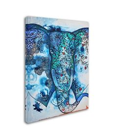 Oxana Ziaka 'Blue Elephant' Canvas Art - x x - Multi Elephant Canvas Art, Elephant Print, Lace Drawing, Byzantine Icons, Line Patterns, Baby Shop, Art Pieces, Wall Art, Artwork