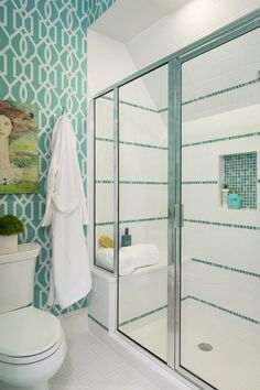 bathroom with turquoise wallpaper | Martha O'Hara Interiors