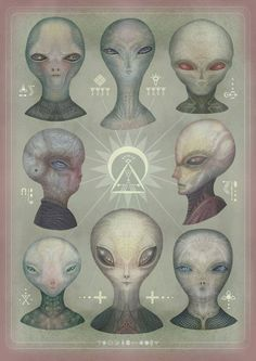 The Greys, Animated Portrait Illustrations of the Grey Alien Species by Vladimir…