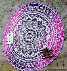 Traditional India Mandala Round Roundie Beach Throw Tapestry Hippy Boho Gypsy 42-inch Cotton Table Cover Beach Towel Yoga mat