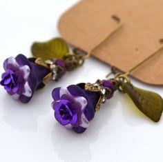 Purple French Violet Rose Lucite Flower Olive Green Leaf Long Dangle Earrings #Handmade