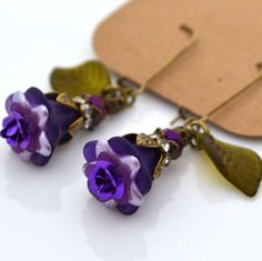 Purple French Violet Rose Lucite Flower Olive Green Leaf Long Dangle Earrings #Handmade