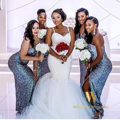 Nigerian wedding sequin bridesmaids dresses 1
