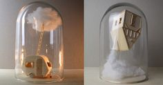 Dutch multidisciplinary artistVera van Wolferen(previously) produces miniature balsa wood sculptures, architectural objects that are either incorporated into animations or left motionless to tell their own stories. Her static works are often displayed beneath glass bell jars, leaving the audience