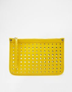 Love Moschino Cut Out Heart Clutch Bag in Yellow