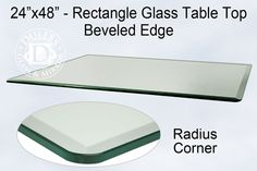 24x48 Inch Rectangle Glass Table Top, 1/2 Inch Thick, Bevel Polished Edge