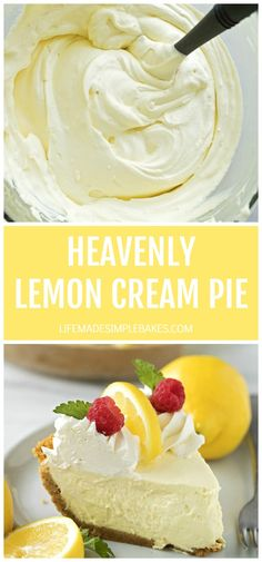 Heavenly Lemon Cream Pie – Life Made Simple Creamy, silky, heavenly lemon cream pie. This no-bake treat is absolutely dreamy. It's perfect for spring celebrations or summer BBQs. Lemon Desserts, Lemon Recipes, No Bake Desserts, Dessert Recipes, Health Desserts, Cream Pie Recipes, Party Desserts, Drink Recipes, Lemon Cream Pies