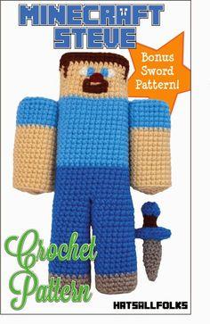Minecraft Steve Crochet Pattern https://www.etsy.com/shop/HatsAllFolks