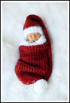 Crochet Christmas Elf Stocking Baby Hat And Cocoon Set Inspiration only, no pattern Baby Set, Häkelanleitung Baby, Crochet Baby Cocoon, Knit Crochet, Crochet Hats, Cocoon Bebe, Knitting Projects, Crochet Projects, Baby Patterns