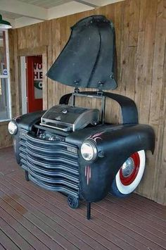 Man cave ideas 19 DIY decor and furniture projects that are sure to make your man cave the talk of the town and the center of everyones envy. Man Cave Barbecue Made Out Of A Car Car Part Furniture, Automotive Furniture, Furniture Projects, Home Projects, Backyard Furniture, Automotive Decor, Man Cave Furniture, Furniture Design, Furniture Dolly