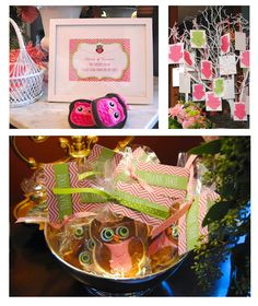 Owl themed Baby Shower Invitations, comment cards, and favor tags in Pink and soft lime. Favors, decorations and photos by Badollet House Bed & Breakfast in Salem, IL
