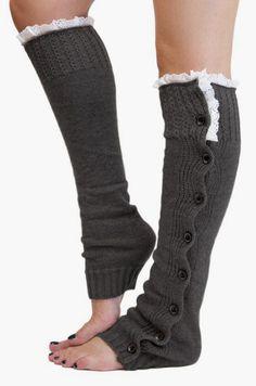 Gertie & Baxter Dark Gray Lace-Trim Button Leg Warmers