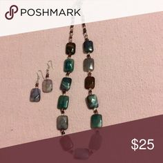 Necklace & earrings set So pretty. Teal, lavender & brown stones. Jewelry Necklaces