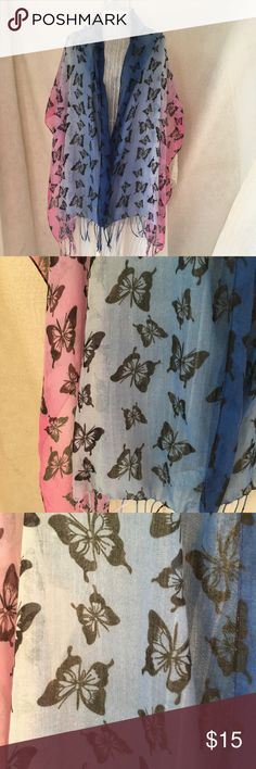 Copelli Ombre Butterfly Sheer Rectangular Scarf Blue and Pink Ombre Colors Black Butterflies Fringe  20 x 70  Bin 0393 Copelli Accessories Scarves & Wraps