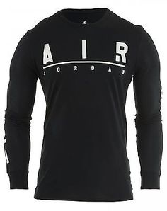 Nike Jordan Long Sleeves T-shirt Mens 706673-010 Black Cotton Tee Top Size L